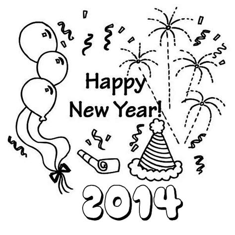 coloring pages for new years 2014 2014 new years decoration coloring page
