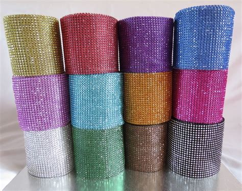 Multi colour diamante diamond Rhinestone Mesh Ribbon Cake
