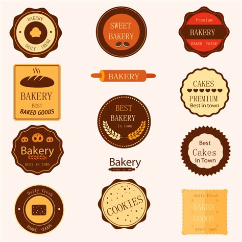 11 Models Baked Goods Label Design Vector Material Download Free Vector Psd Flash Jpg Www Baked Goods Label Templates