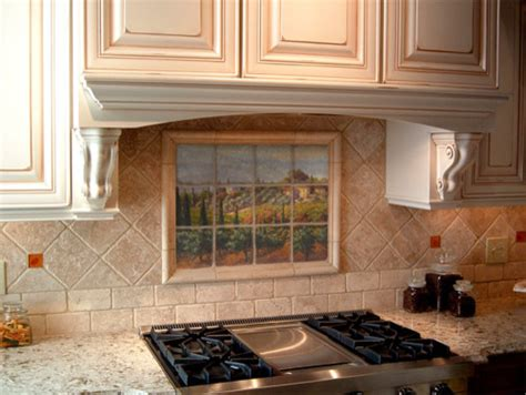 tuscan marble tile mural in italian kitchen backsplash