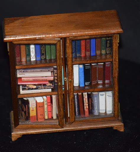 vintage doll dollhouse miniature book shelf w books book