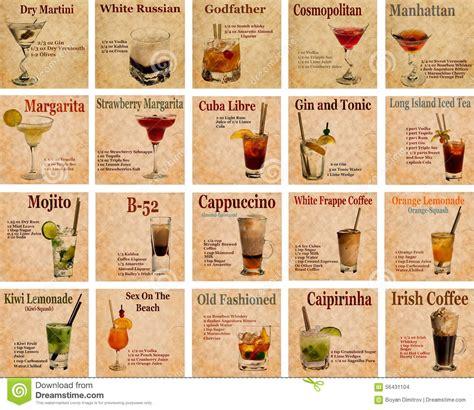 50s Kitchen Ideas set of cocktail recipes stock photo image 56431104