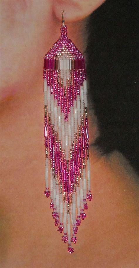 beadwork earrings beaded earrings pink white by