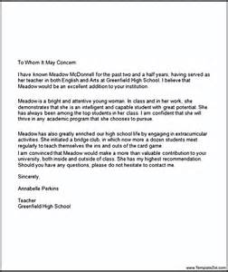 College Student Cover Letter Template by Letter Of Recommendation For High School Student Going To