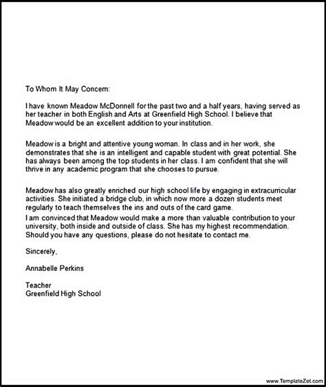 Letter Of Recommendation For College From High School College Recommendation Letter For High School Student Templatezet
