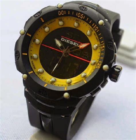 Jam Pria Diesel Dual Time jual jam tangan diesel time black rubber yellow