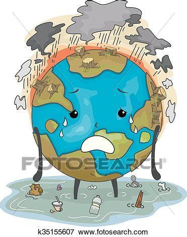 Environmental Graphics Wall Murals clip art of earth mascot environmental damage k35155607