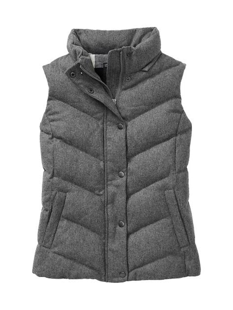 Vest Gap gap wool furtrim puffer vest in gray lyst