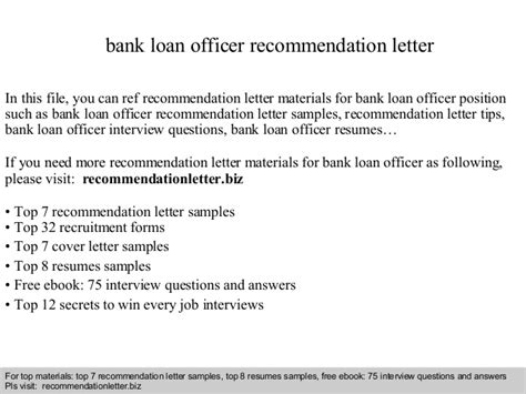 Recommendation Letter Sle For Bank Loan Bank Loan Officer Recommendation Letter
