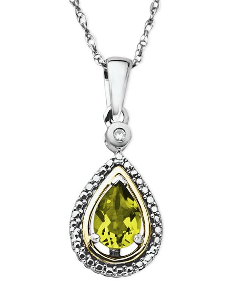 macy s 14k gold and sterling silver necklace peridot 3 4