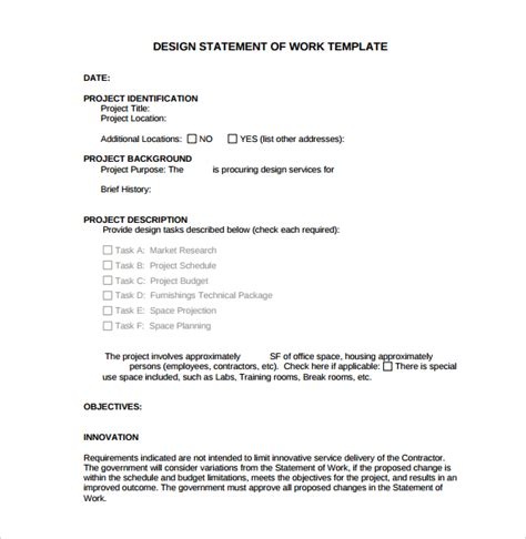 Sle Statement Of Work Template 11 Free Documents Download In Pdf Managed Services Sow Template