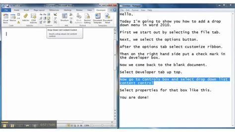 how to a to drop the how to add a drop menu in microsoft word 2010