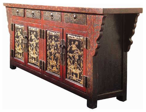 Red Gold Flower Vase Paint Buffet Table Tv Stand Chinese Asian Buffet Table