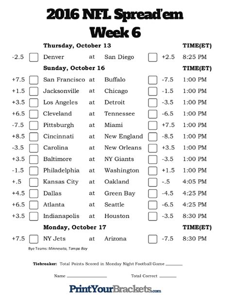 printable nfl schedule with odds nfl week 6 pick em against the spread sheets printable