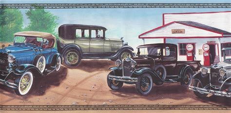 Antique Car Wallpaper Borders by Wallpaper Border Antique Collectible Cars Gas Station