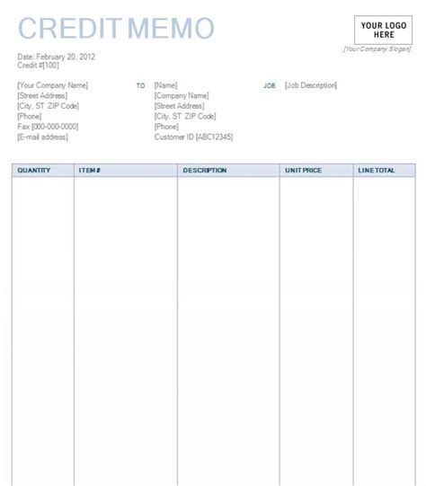 Credit Memo Template In Word Credit Memo With Blue Background Design