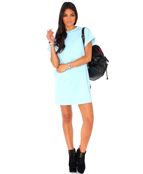 Oversize T Shape Dress Light Blue missguided davina oversized tshirt dress in baby blue in blue lyst