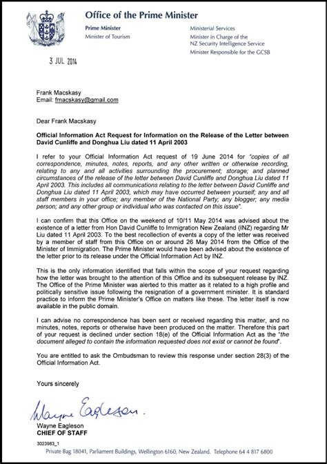 exle of formal letter to prime minister the donghua liu affair responses from nz herald and prime