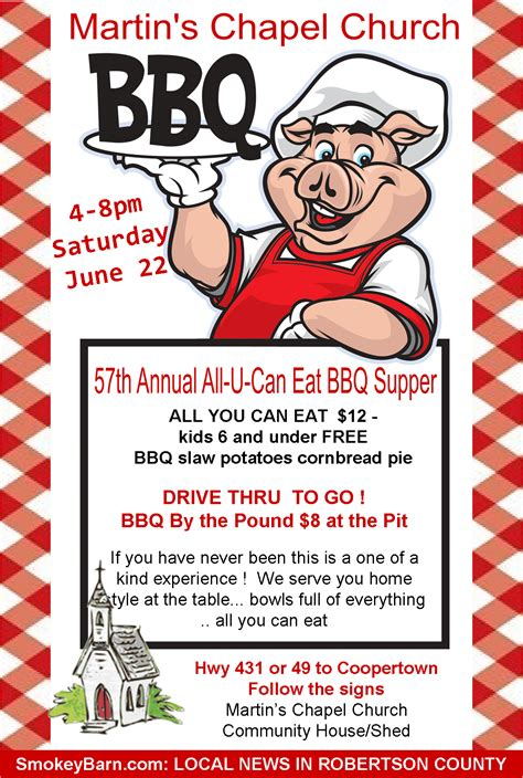 bbq fundraiser flyer template martin s chapel 57th annual all u can eat bbq