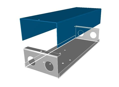 3d model of a sheet metal box and cover used to enclosure