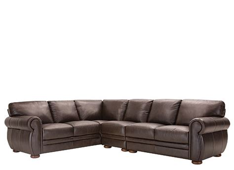 Marsala 3 Pc Leather Sectional Sofa Chocolate Raymour