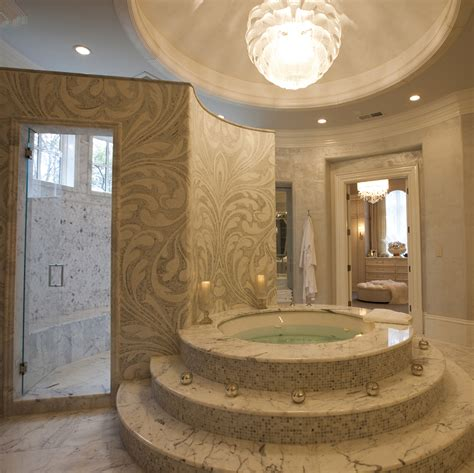 luxury shower baths bathrooms with glittering chandeliers