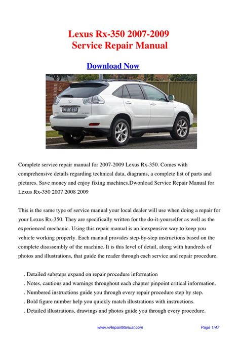 service manual 2009 lexus rx service manual handbrake lexus rx 400h mhu38 2006 2009 repair