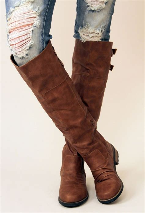 cognac knee high boots style