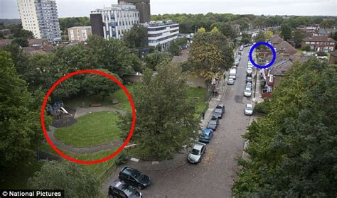 Ring shows where a 15 year old was stabbed and the nearby blue ring