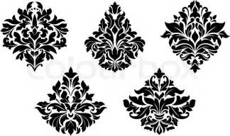 vintage floral design elements in damask style vector colourbox