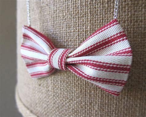 Ac01 Stripe Tie Necklace fabric bow tie necklace ticking stripe nautical preppy