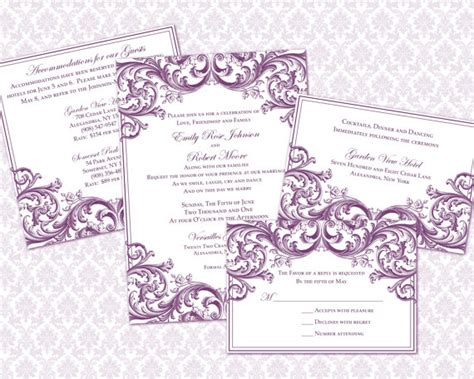 diy wedding invitation template set 5x7 invitation