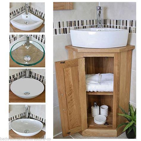 Solid Oak Bathroom Furniture Uk Solid Oak Bathroom Cabinet Cloakroom Corner Vanity Sink Bathroom Furniture A Ebay