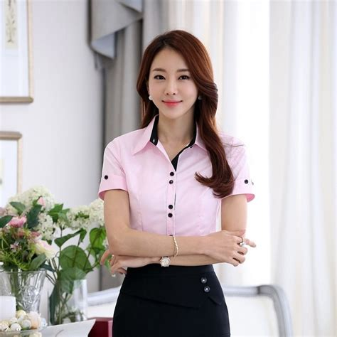 Blouse Wanita Clasic Black high quality formal pink shirts summer tops