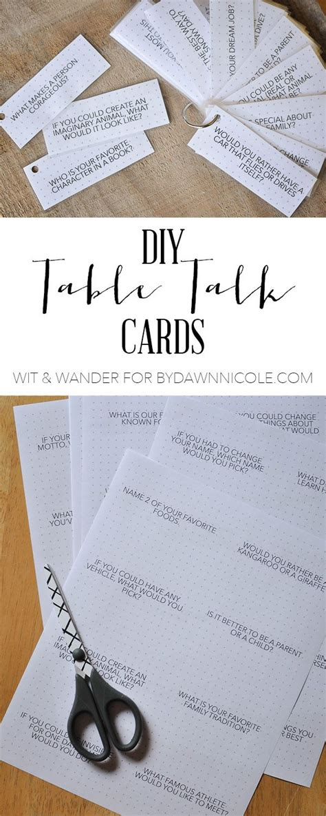 questions for a dinner diy dinner table talk cards