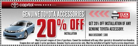 Toyota Parts Coupon Toyota Accessory Or Parts Installation Special Parts
