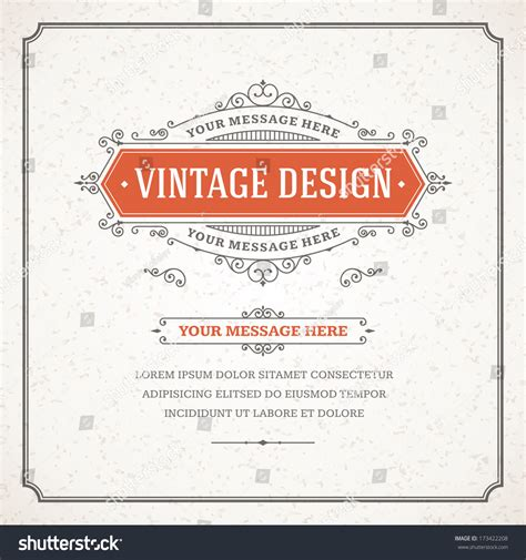 Vintage Place Card Template by Vintage Design Template Retro Card Place Stock Vector