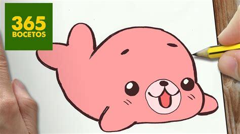 imagenes kawaii a lapiz como dibujar foca kawaii paso a paso dibujos kawaii