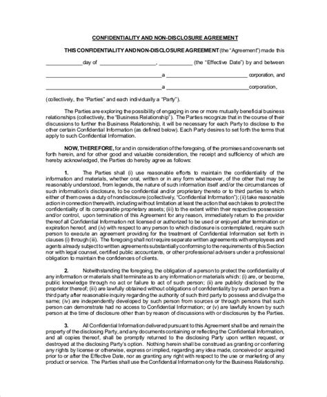 Standard Non Disclosure Agreement Form 19 Exles In Standard Non Disclosure Agreement Template