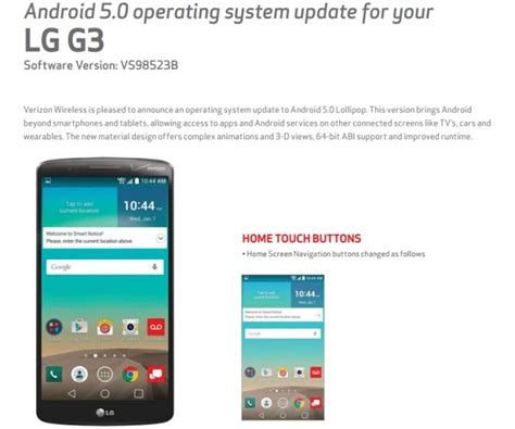 upgrade android 5 0 verizon s lg g3 gets android 5 0 lollipop update mobipicker