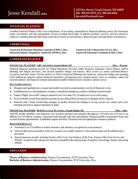 Cfp Credit For Mba by Financial Planner Resume