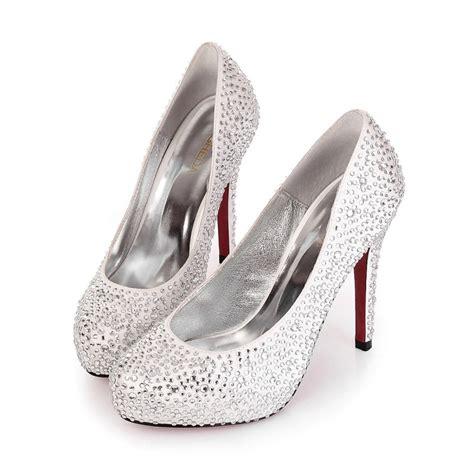 high heel closed toe rhinestone silver wedding bridal