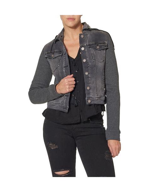 knit hooded denim jacket silver denim jacket womens knit hooded m black