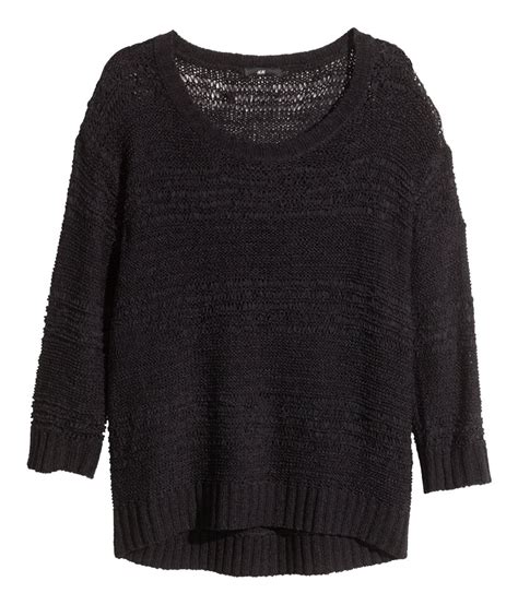 pattern knit sweater h m lyst h m pattern knit jumper in black