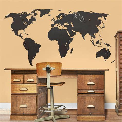 wallies wall stickers chalkboard world map wall sticker by the binary box notonthehighstreet