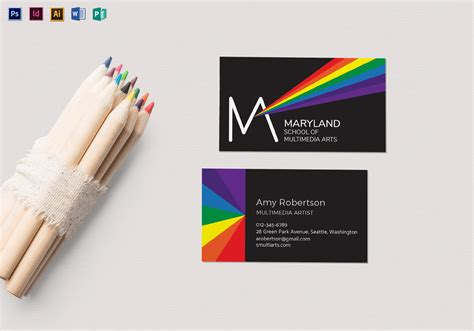 Rainbow Business Card Template by Rainbow Business Card Template In Psd Word Publisher