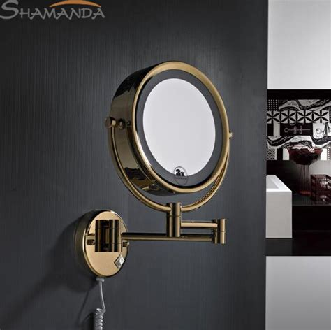 led gold brass cosmetic mirror wall mounted bathroom 2016 rushed free shipping high quality solid brass gold