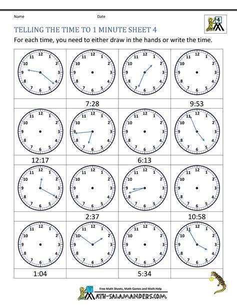 free printable worksheet telling time clock worksheets to 1 minute