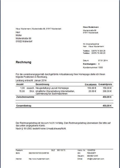 Musterrechnung Schweiz Muster Rechnung Kleinunternehmer Erstellt Mit Dem Programm Hth Rechnungen