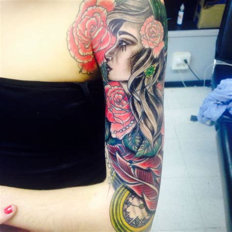 girl half sleeve tattoos half sleeve for with tattoos